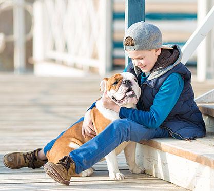 Junge sitzt mit dem Hund auf der Treppe
