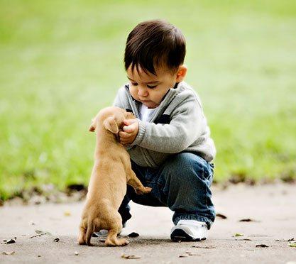 Kleiner Junge mit Welpe