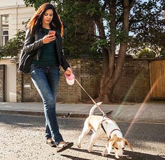 Frau mit dem Smartphone bei der Gassirunde