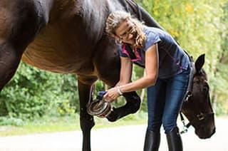 Frau untersucht Huf vom Pferd