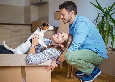 Paar mit kleinem Hund und UMzugskartons