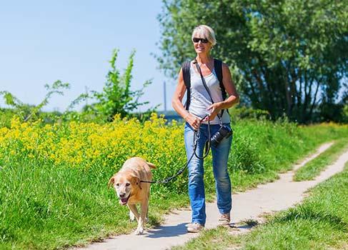 Frau mit ihrem Hund in der Natur unterwegs